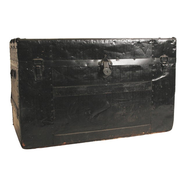 Victorian Antique Black Steamer Trunk - Image 1 of 11
