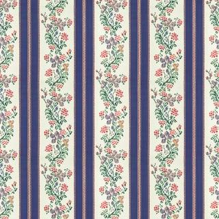 Vintage Bassett McNab Turkestan Floral Stripe Fabric, 1 Yard For Sale