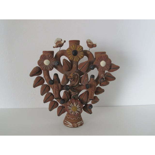 Mexican Folk Art Tree of Life Candleholder - Image 3 of 6