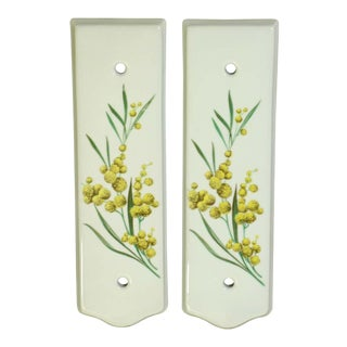 Pair of Limoges 7.75 In. White Ceramic Floral Door Push Plates For Sale