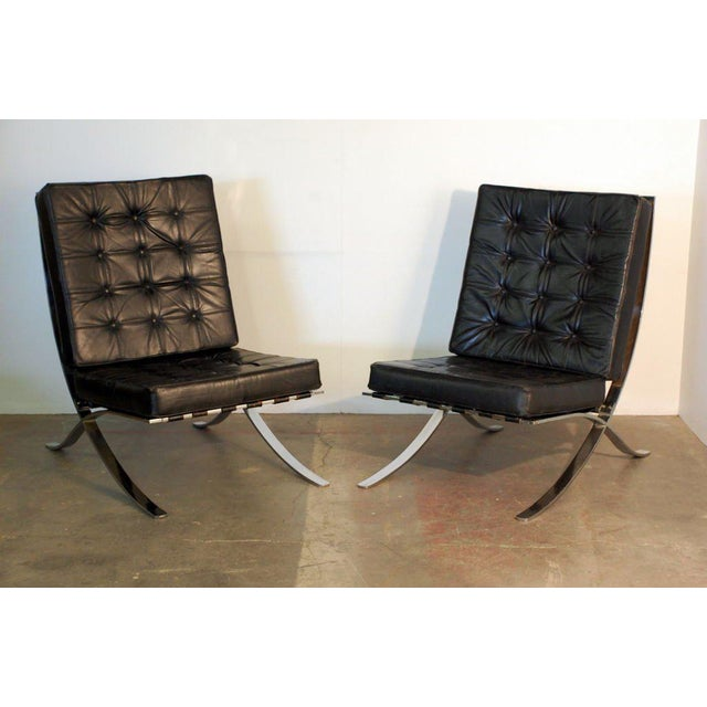 World Class Large Mies Van Der Rohe Style Black Leather Lounge Chair