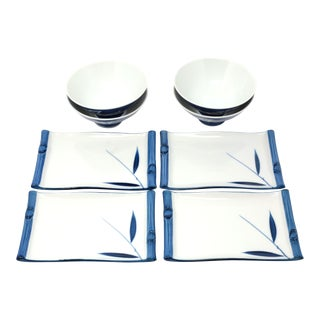Blue and White Sushi Plates and Bowls - Set of 4 For Sale