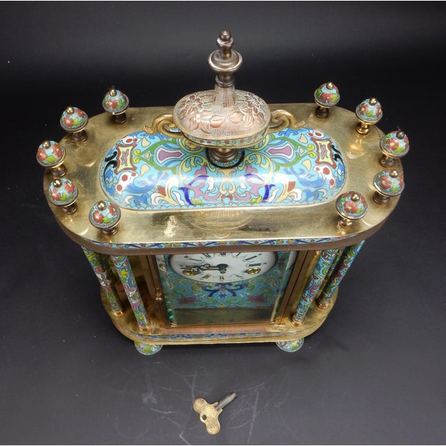 "Chinese Export Bronze and Cloisonné Mantle Clock Excellent Working Condition 19"" For Sale - Image 9 of 13"