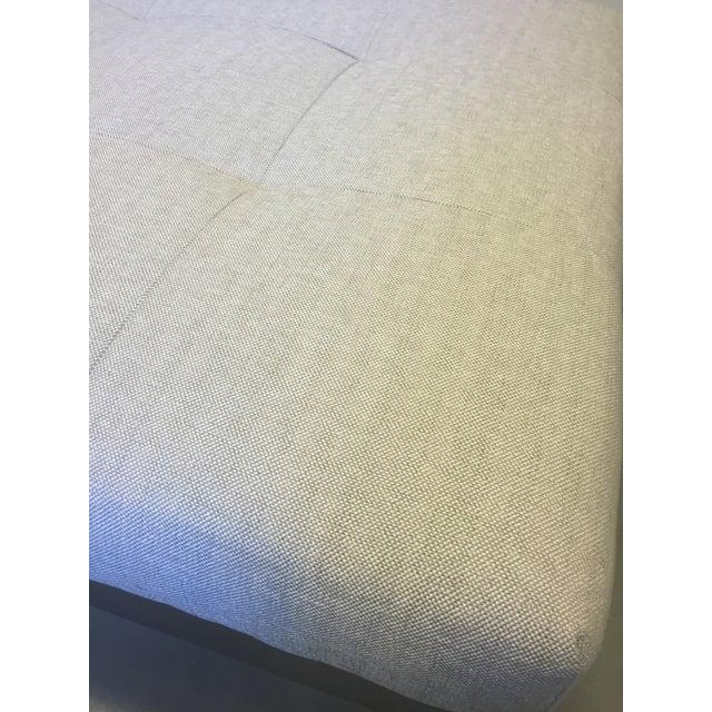 Modern Belgian Linen Upholstered Ottoman - Image 7 of 8