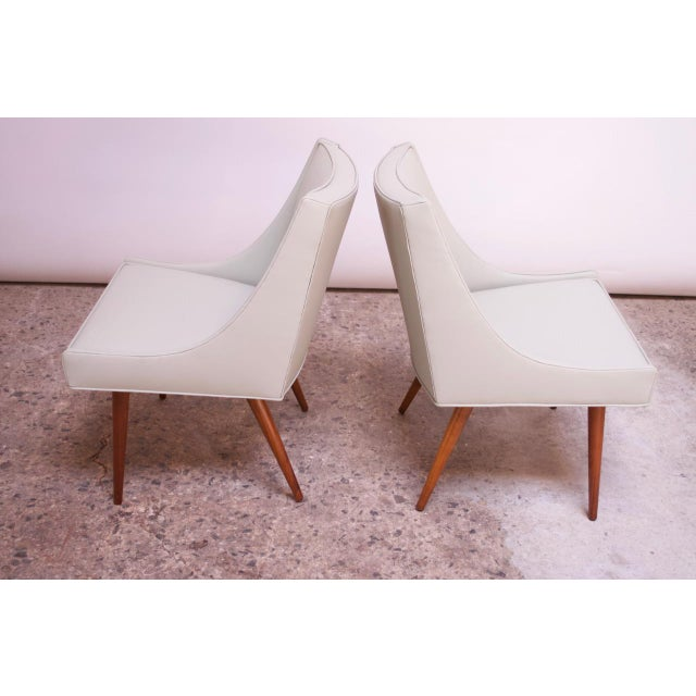 Wood Vintage Walnut and Leather Slipper Chairs by Milo Baughman - a Pair For Sale - Image 7 of 13