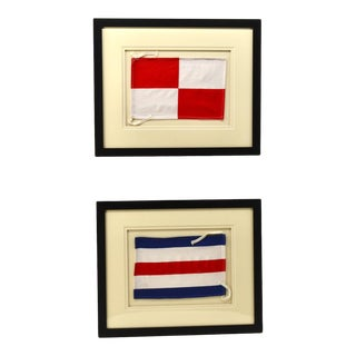 "Framed Signal Flags Letters ""C"" & ""U"" - a Pair For Sale"