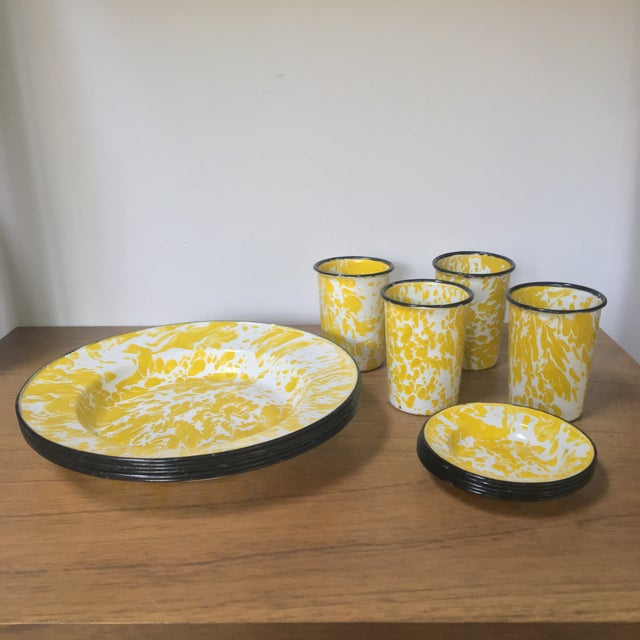 Vintage Yellow Enamelware - Set of 15 For Sale - Image 4 of 10