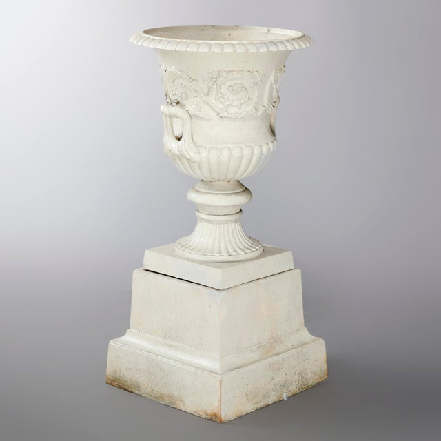 Antique French Neoclassical 2-Piece Cast Iron Garden Urn, 20th Century For Sale - Image 6 of 10