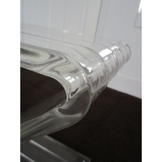 1970s Hollywood Reegncy Lucite Z Shaped Side Table/Plant Stand For Sale - Image 4 of 13