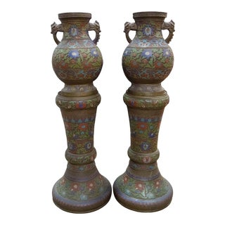 Late 20th Century Cloisonne Urns on Stands - a Pair For Sale