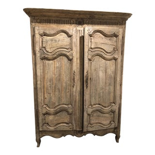 Antique Bleached Oak Louis XV Style Armoire