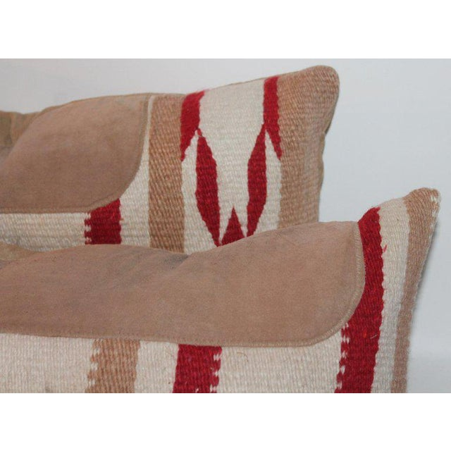 Navajo Indian Weaving Saddle Blanket Pillows - A Pair For Sale - Image 4 of 10