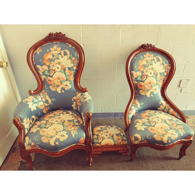 Late 19th Century Antique Slipper Chairs & Ottoman, 3 Pieces For Sale - Image 5 of 10