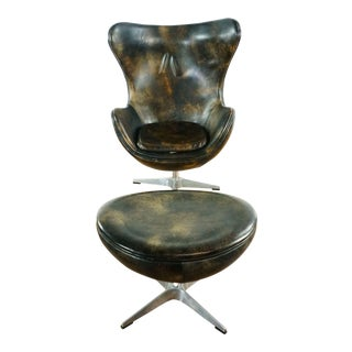 Restoration Hardware Leather Chair and Ottoman For Sale