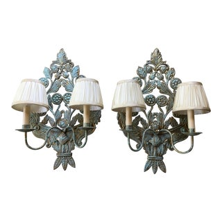 Verdigris Finish Repoussé Brass Sconces - a Pair For Sale