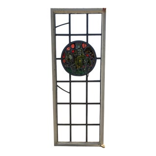 Antique 19th Century Leaded Stained Glass Tudor/Spanish Style Window For Sale