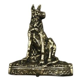 Brass Alsatian Wolf Dog Door Knocker For Sale