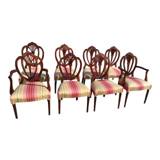 Vintage Sweet Heart Shield Back Hepplewhite Mahogany Chairs - Set of 8 For Sale