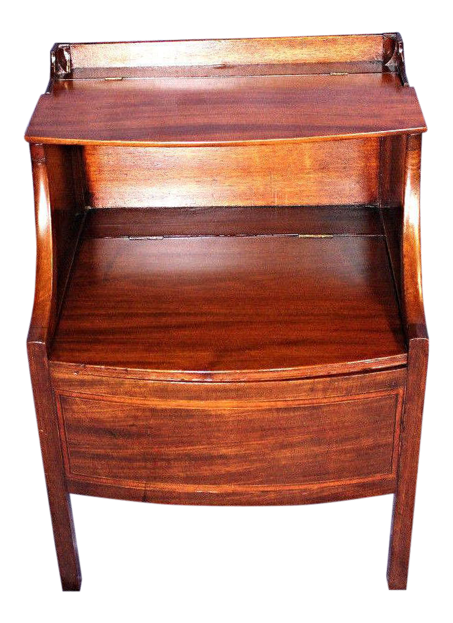 1840 Antique English Mahogany Commode Nightstand End Side Table Cabinet