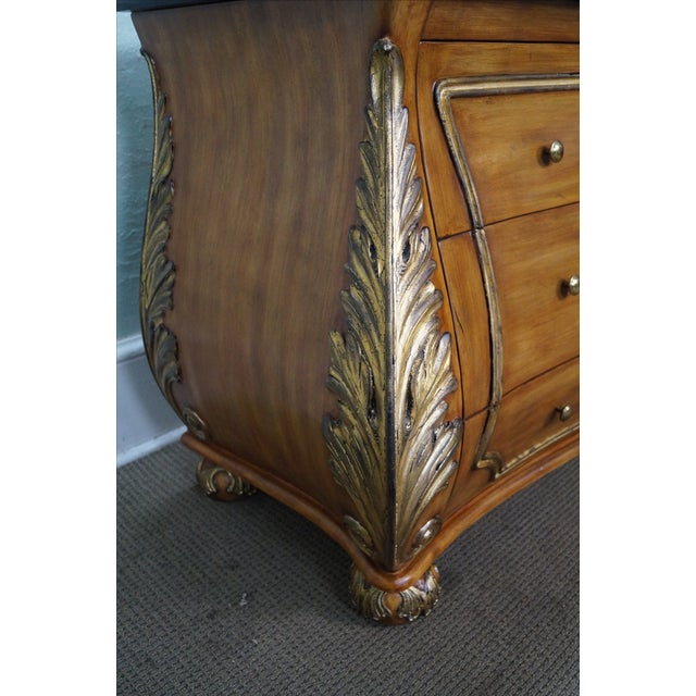 Brown French Louis XV Style Bombe Marble Top Commode Chest For Sale - Image 8 of 9