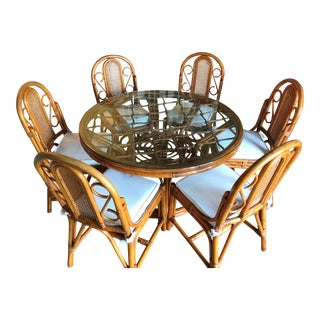 Vintage Rattan Table Six Chairs Custom Upholstered Cushions For Sale