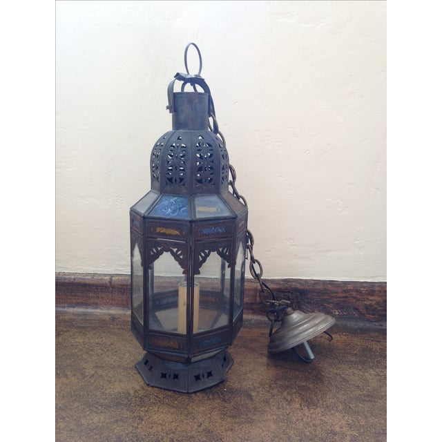 Stained Glass Moroccan Hanging Pendant Lantern - Image 2 of 3
