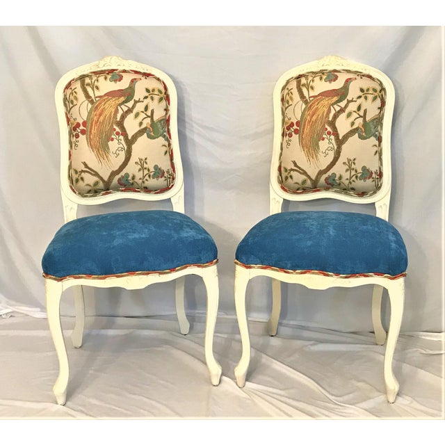 Our master upholsterer has outdone himself with these handsome Louis XV chairs. The backs feature a graceful pheasant in...