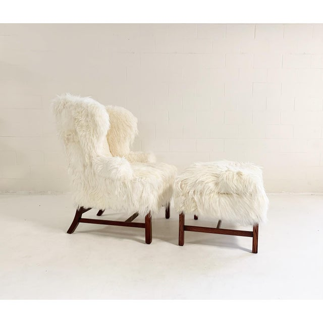 Large Wingback Chair and Ottoman in Angora Goatskin For Sale - Image 9 of 9