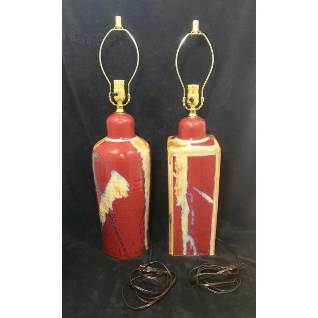 Late 20th Century Jim Lauer Signed Studio Pottery Oxblood Drip Glazed Lamps - a Pair For Sale - Image 5 of 9
