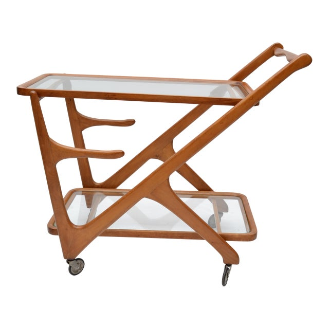 Image of Cesare Lacca Wooden Bar Cart for Cassina, Italy