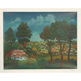 "Ivan Generalic, ""Village Landscape,"" Serigraph For Sale"