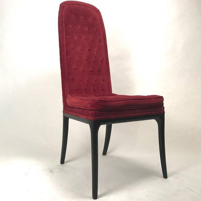 A set of six very elegant dining or occasional chairs in the original cranberry colored velour upholstery. Good usable...