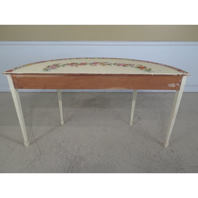 Adam Style Paint Decorated Demi-lune Console Table For Sale - Image 10 of 11