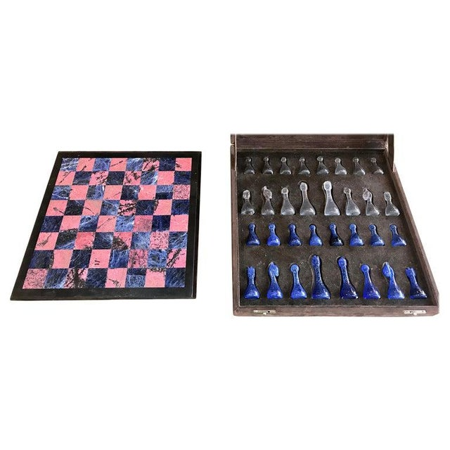 Blue Marble and Art Glass Chess Game Set, Italy, Circa 1960s For Sale - Image 9 of 9