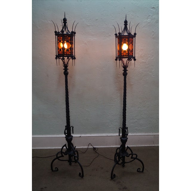 Antique Wrought Iron Torchier Floor Lamps - A Pair - Image 7 of 10