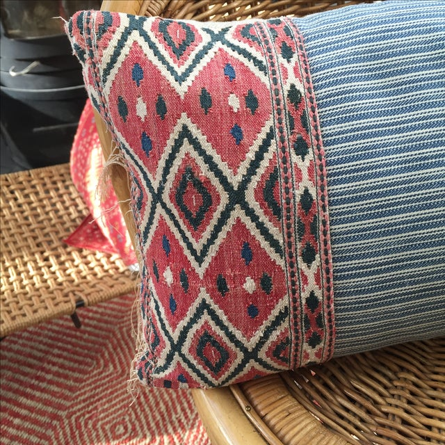 Boho Chic One of a Kind Pillow With Vintage Textile Trim For Sale - Image 3 of 5