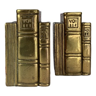 Heavy Brass Bookset Bookends - a Pair For Sale