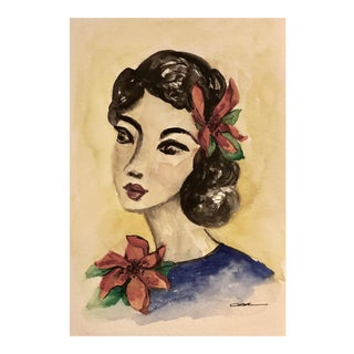 """Vintage Original Mixed Media """"Portrait of a Lady With Hibiscus"""""""