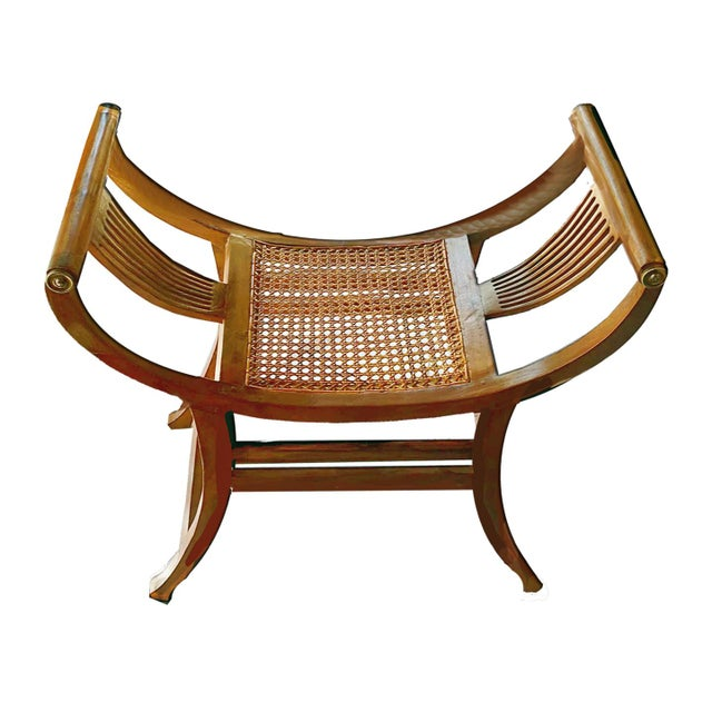 19th C. Hand-Crafted Italian Mahogany & Wicker Curule Form Savonarola Bench For Sale In Palm Springs - Image 6 of 7