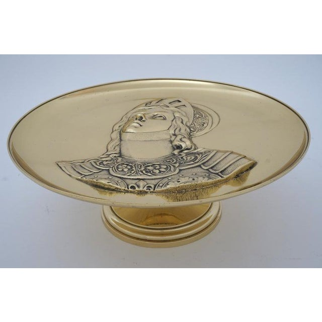 """Traditional Antique 19c """"Joan of Arc"""" Bas Relief Tazza Compote Dish Bronze For Sale - Image 3 of 13"""