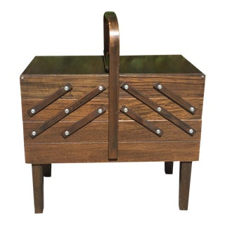 Vintage Singer Folding Sewing Box For Sale
