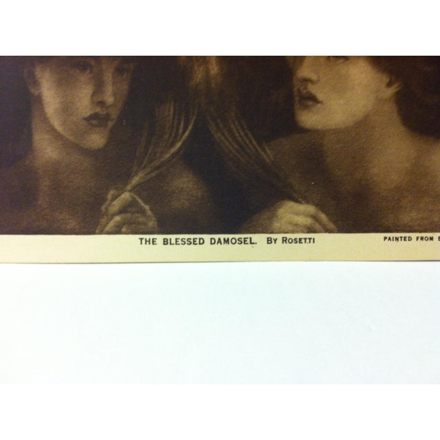 """Figurative Circa 1915 """"The Blessed Damosel"""" the Mentor Association Print For Sale - Image 3 of 4"""