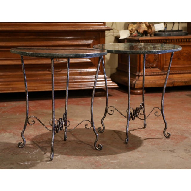 Metal Mid-Century French Polished Wrought Iron and Marble Patio Side Tables - a Pair For Sale - Image 7 of 9