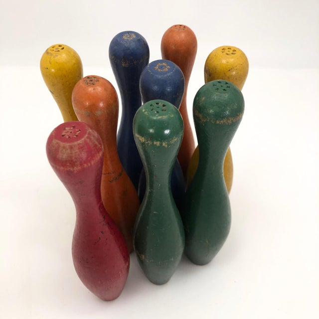 Wood Early 20th Century Vintage Painted Wooden Toy Bowling Pins - Set of 9 For Sale - Image 7 of 11