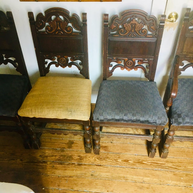 Super 1920S Vintage Jacobean Revival Dining Chairs Set Of 4 Bralicious Painted Fabric Chair Ideas Braliciousco