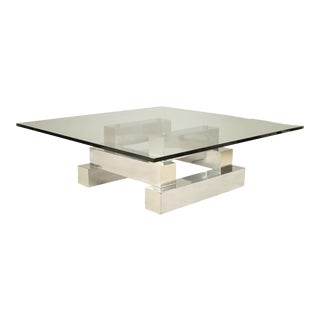 American Post-War Aluminum and Brass Coffee Table For Sale