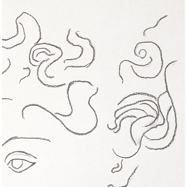 """Sarah Myers """"Woman With Flying Curls"""" Minimalist Inspired Charcoal Drawing by Sarah Myers For Sale - Image 4 of 6"""