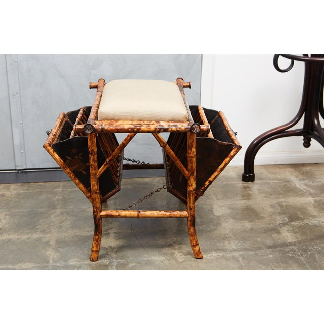 Late 19th Century Victorian Bamboo bench with Lacquered Panels For Sale - Image 5 of 6