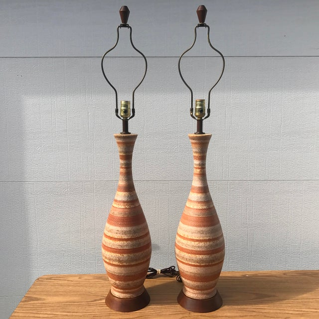 1960s Mid-Century Modern Tall Striped Pottery Table Lamps - a Pair For Sale - Image 12 of 12
