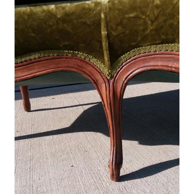 Green Antique Victorian Velvet Sofa Settee Green For Sale - Image 8 of 13